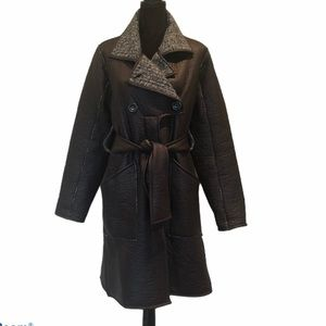 Lundstrom wool blend winter coat with waist tie